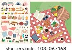 set of elements for picnic.... | Shutterstock .eps vector #1035067168