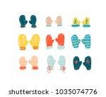 set of flat vector doodle cute... | Shutterstock .eps vector #1035074776