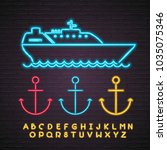 ship and anchor neon light... | Shutterstock .eps vector #1035075346