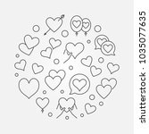 lots of hearts in round shape... | Shutterstock .eps vector #1035077635