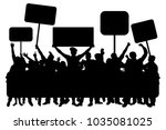 crowd of people with banners ... | Shutterstock .eps vector #1035081025
