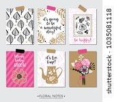 feminine pink floral greeting... | Shutterstock .eps vector #1035081118