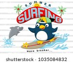 surfing at summer with funny... | Shutterstock .eps vector #1035084832