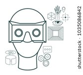 virtual reality technology set... | Shutterstock .eps vector #1035086842