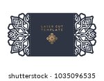 vector wedding card laser cut... | Shutterstock .eps vector #1035096535