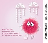 funny  banner with fluffy pink... | Shutterstock .eps vector #1035100882