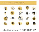 collection of flat food and... | Shutterstock . vector #1035104122