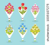 set of tulip  roses flowers... | Shutterstock .eps vector #1035107275