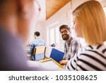 group of work candidate waiting ... | Shutterstock . vector #1035108625