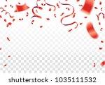 red confetti  serpentine or... | Shutterstock .eps vector #1035111532