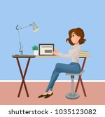 the girl is working at the... | Shutterstock .eps vector #1035123082