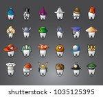 vector funny wisdom tooth... | Shutterstock .eps vector #1035125395