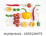 ingredients for cooking pasta... | Shutterstock . vector #1035126475