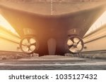tanker ship rear view with... | Shutterstock . vector #1035127432