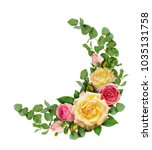pink and yellow rose flowers... | Shutterstock . vector #1035131758