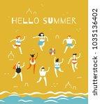men and women in bathing suits... | Shutterstock .eps vector #1035136402
