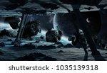 astronauts exploring a huge... | Shutterstock . vector #1035139318