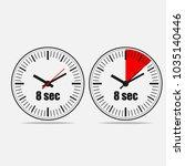eight seconds clock on grey... | Shutterstock .eps vector #1035140446