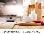 table background in kitchen and ... | Shutterstock . vector #1035149752