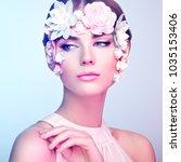 face of beautiful woman... | Shutterstock . vector #1035153406