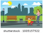 the park bench with your... | Shutterstock .eps vector #1035157522