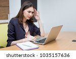 operator have headache from... | Shutterstock . vector #1035157636