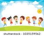 happy children playing outside | Shutterstock .eps vector #1035159562