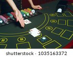 casino pocker table with chips... | Shutterstock . vector #1035163372