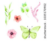hand drawn watercolor set with... | Shutterstock . vector #1035170902