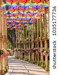 fancy umbrella  made from... | Shutterstock . vector #1035177736