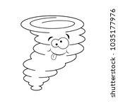 cute colorless cartoon tornado. ... | Shutterstock .eps vector #1035177976