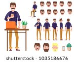 guy with coffee in hand in... | Shutterstock .eps vector #1035186676