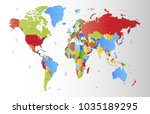 color world map vector | Shutterstock .eps vector #1035189295