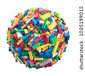 ball made of random colored toy ... | Shutterstock . vector #1035199012