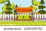 beautiful vector backyard ... | Shutterstock .eps vector #1035199732