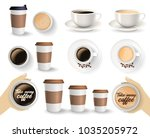 set of to go and takeaway paper ... | Shutterstock . vector #1035205972