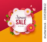 spring sale background with... | Shutterstock .eps vector #1035208612
