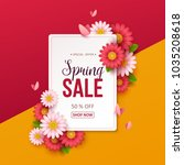 spring sale background with... | Shutterstock .eps vector #1035208618