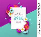 colorful spring background with ... | Shutterstock .eps vector #1035208645