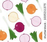 japanese bunching onion and...   Shutterstock .eps vector #1035211375