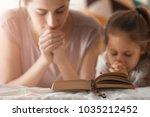 religious christian girl and... | Shutterstock . vector #1035212452