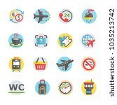 airport icons set | Shutterstock .eps vector #1035213742