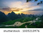 vietnam landscape with rice... | Shutterstock . vector #1035213976