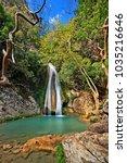 one of the waterfalls in neda... | Shutterstock . vector #1035216646