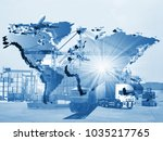 transportation  import export... | Shutterstock . vector #1035217765