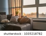 cozy family room with brown... | Shutterstock . vector #1035218782