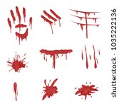 blood spatters set  red palm... | Shutterstock .eps vector #1035222136