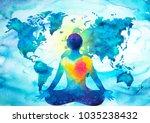 abstract human meditator chakra ... | Shutterstock . vector #1035238432