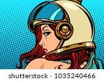 woman astronaut looking over... | Shutterstock .eps vector #1035240466