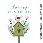 the blossoming nesting box with ... | Shutterstock .eps vector #1035241606